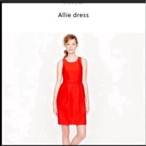 J. Crew 00 red wool silk Allie dress sleeveless